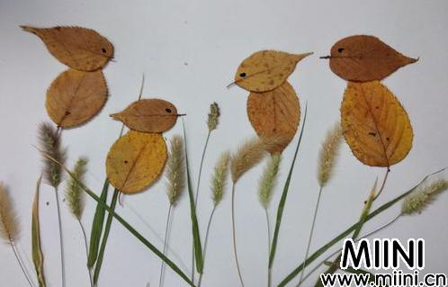 用树叶粘贴简单的小鸟贴画教程