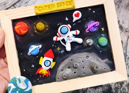 太空宇航员粘土画框制作教程