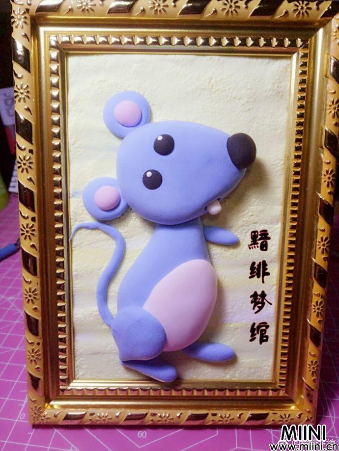 粘土的平面小老鼠贴画做法