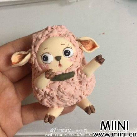 粘可爱粉色土小绵羊的制作步骤