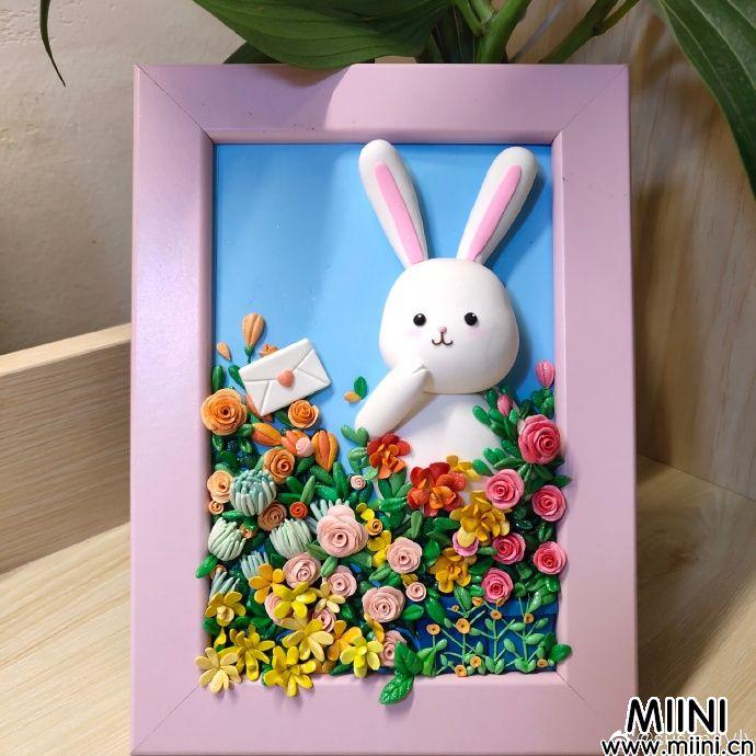 可爱的小兔子粘土画框制作教程