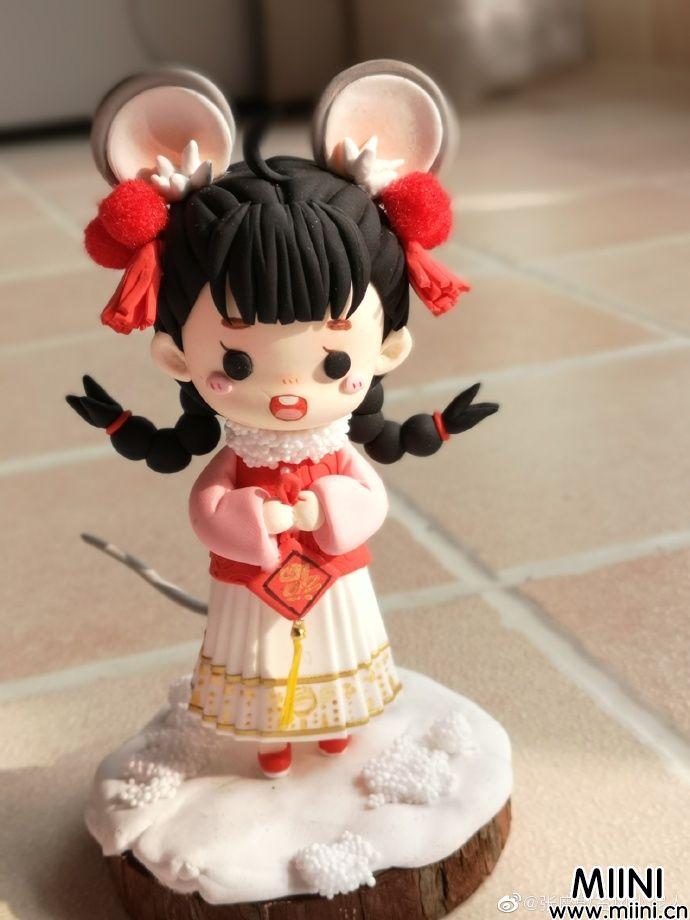 鼠年装扮可爱女娃娃粘土人偶的做法