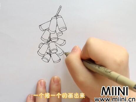 鞭炮简笔画怎么画?鞭炮简笔画步骤教程