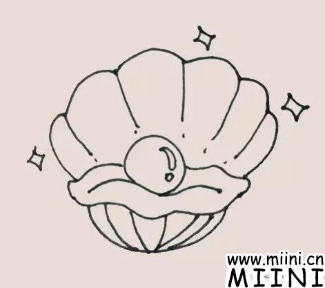 珍珠贝壳简笔画
