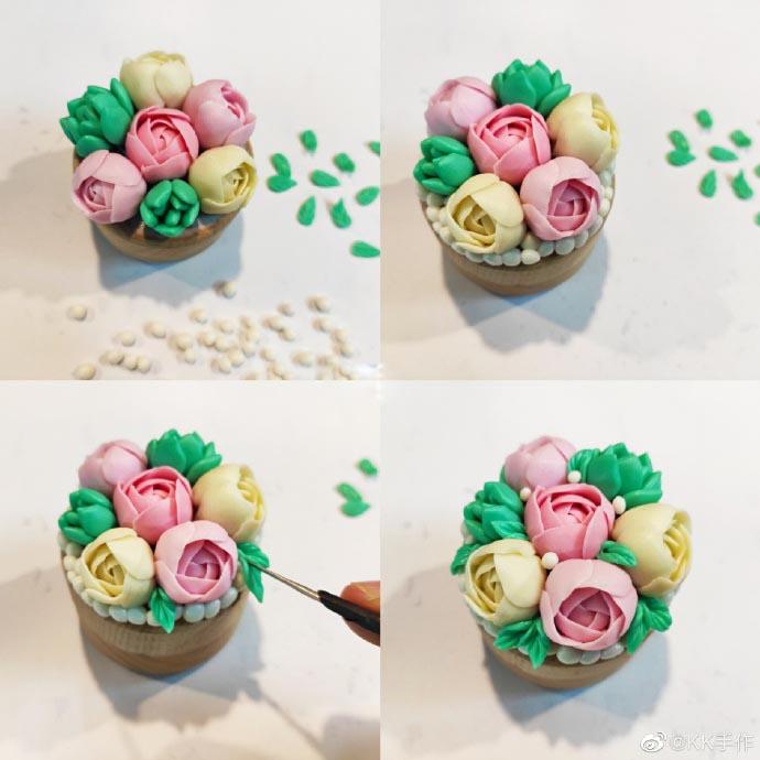 创意粘土戒指花盒的制作教程