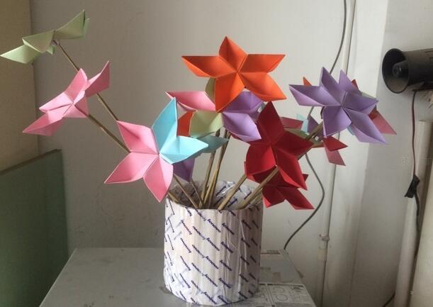 简单的五角花折纸步骤教程