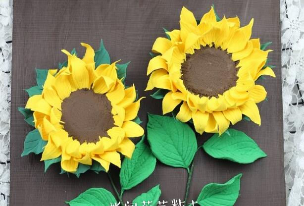 很有创意的粘土向日葵花朵画制作步骤图解