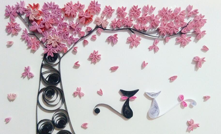 樱花树衍纸步骤图解教程