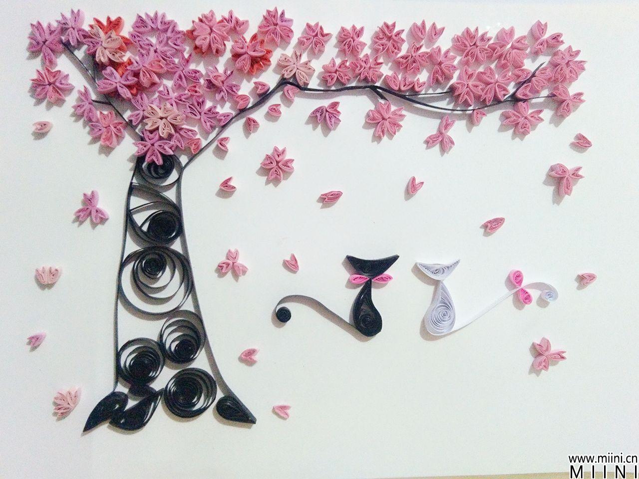 手工衍纸教程 樱花树衍纸步骤图解