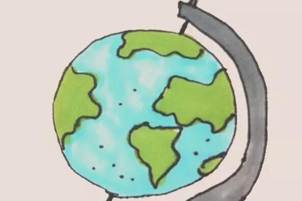 地球仪简笔画步骤图解