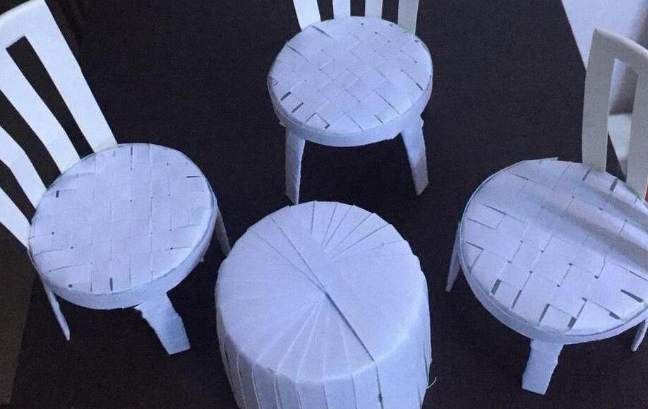 用纸杯手工创意制作小桌椅的步骤图解