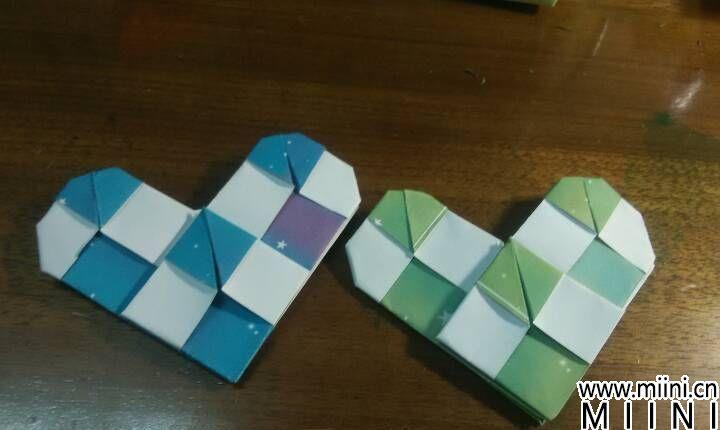 格子爱心折纸步骤图解