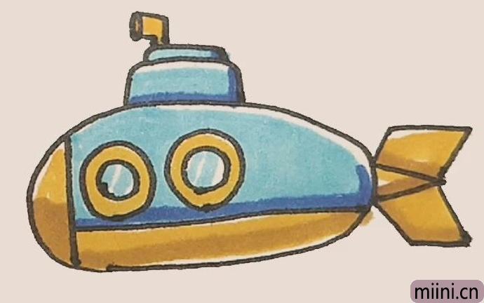 潜水艇简笔画步骤