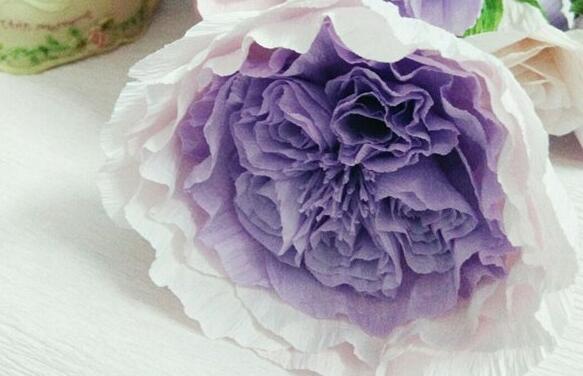 皱纹纸制作奥斯汀玫瑰步骤图