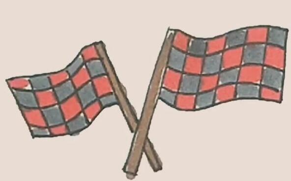 赛车旗帜简笔画步骤图解