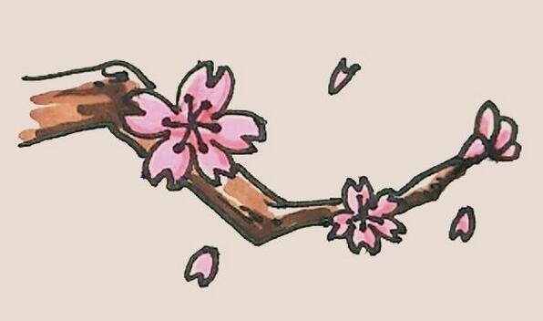 盛开的桃花简笔画步骤图解