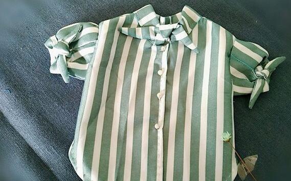 蝴蝶结领短袖衫制作教程