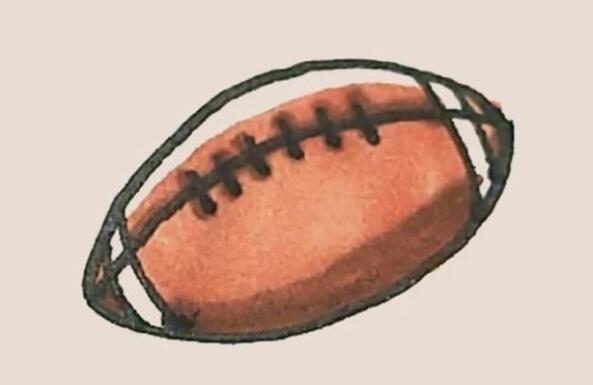 橄榄球简笔画步骤教程