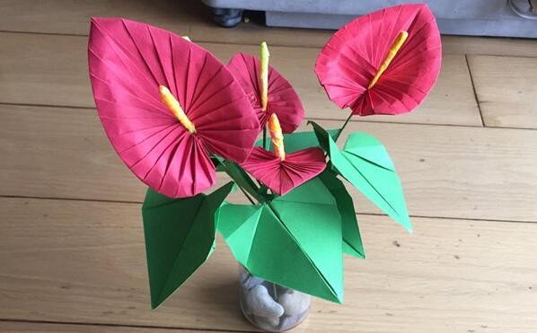 红掌花折纸步骤图解