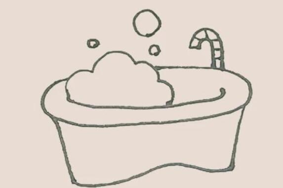 泡沫浴缸简笔画步骤图解