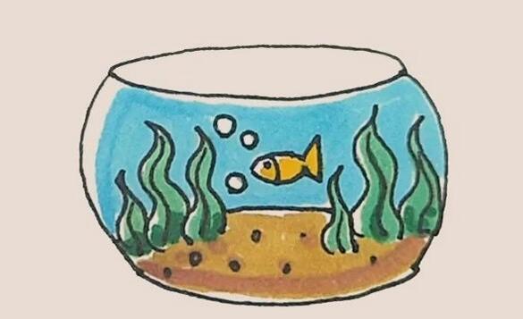 鱼缸简笔画步骤教程