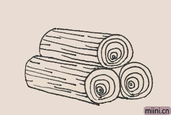 简笔画木堆