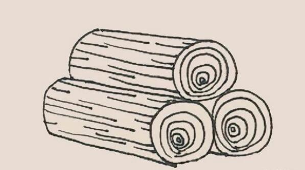 圆柱木头堆简笔画步骤图解