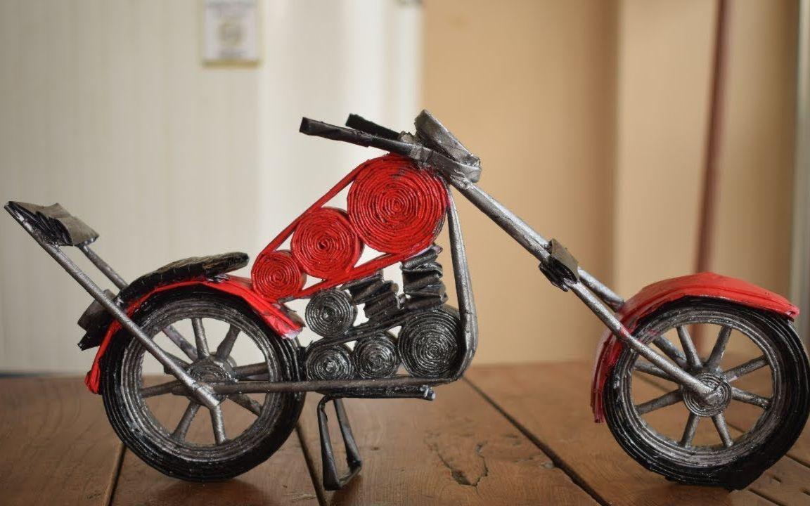 风靡全球的折纸手工艺品,哈雷摩托车