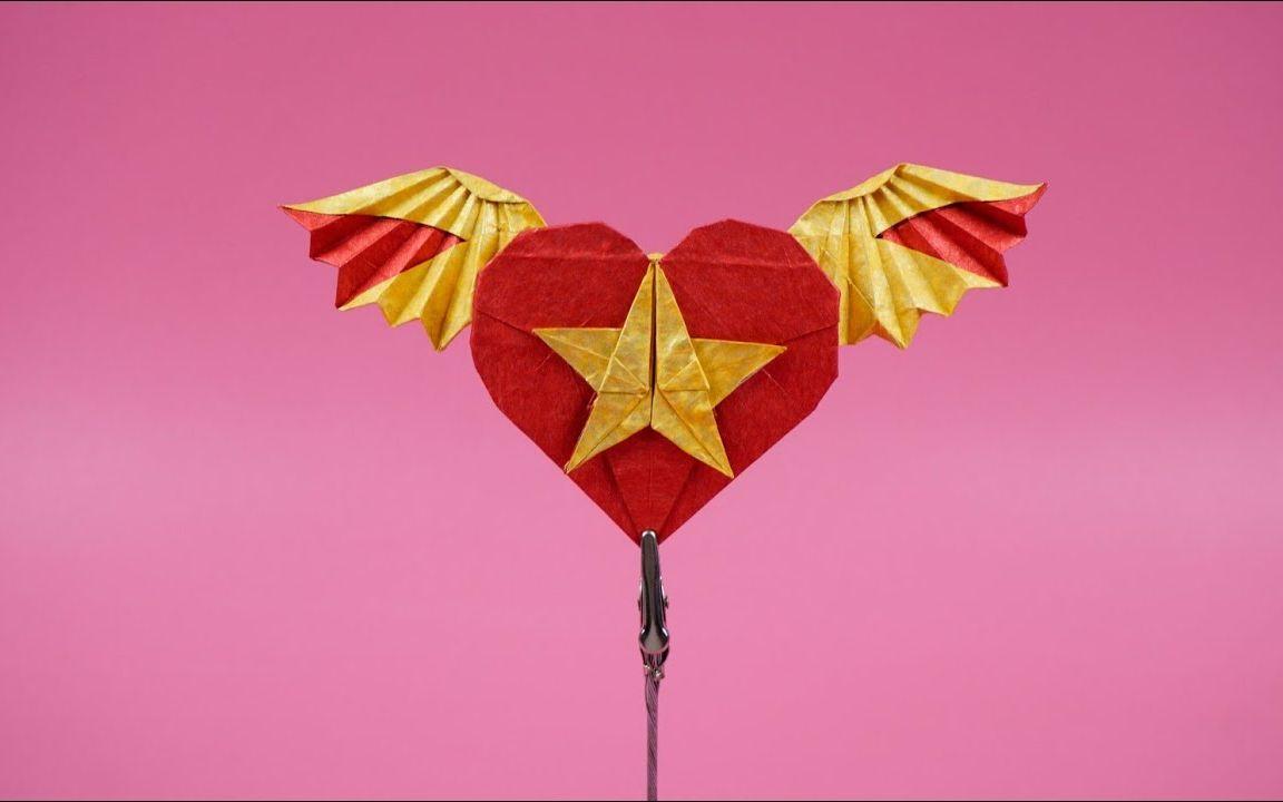 颜值很高的折纸翅膀爱心,新款