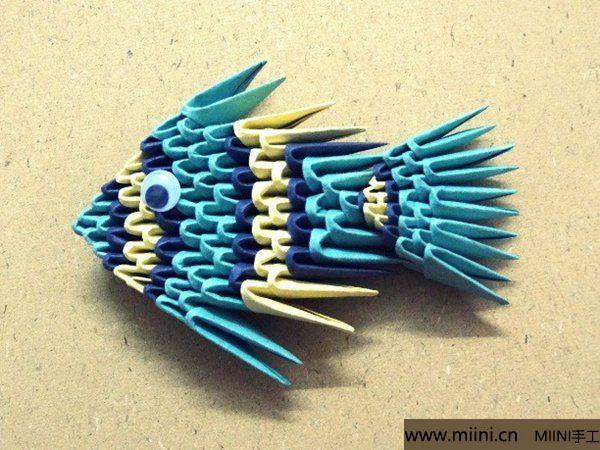 三角插折纸鱼教程 第25步
