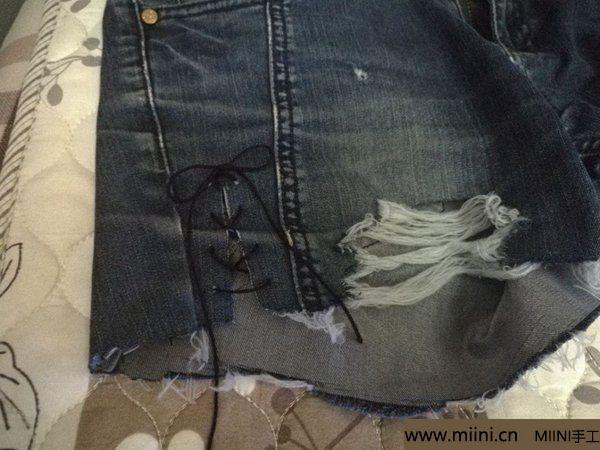 非主流破洞渔网牛仔短裤改造教程 第5步