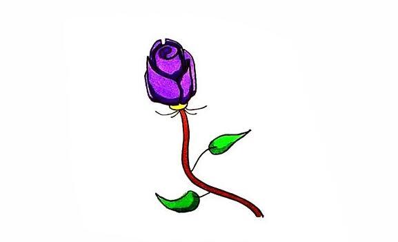 紫玫瑰简笔画步骤教程
