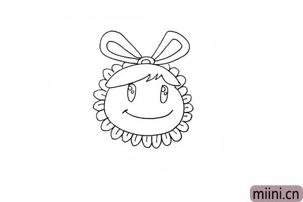 8.围绕脸部画出小小的花瓣。