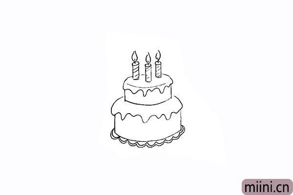 8.用线条画出蜡烛上的花纹。