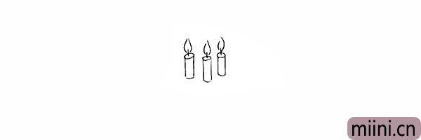 3.接着画出蜡烛上的火焰。