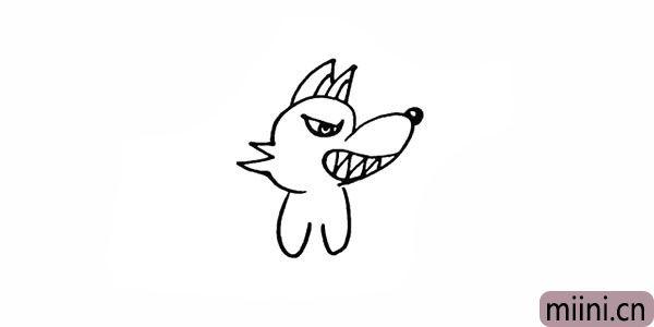 8.仔细观察画出大灰狼的前腿部分。