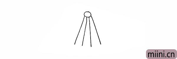 2.在圆圈的下面画出四条直线.是吊兰的绳子。