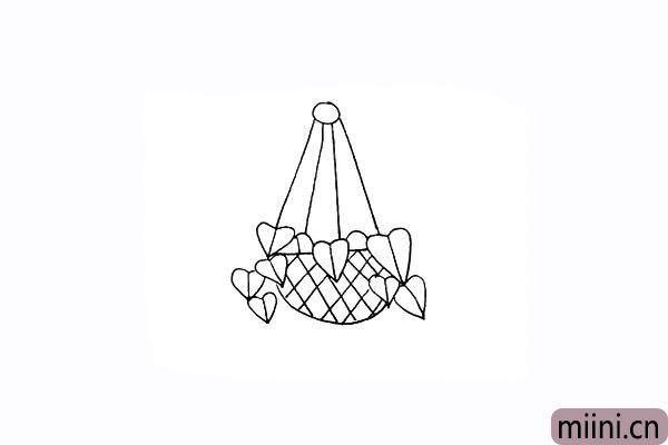7.用交叉的斜线装饰一下篮子。