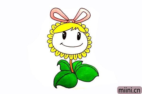 11.后我们卡通向日葵涂上漂亮的颜色吧。