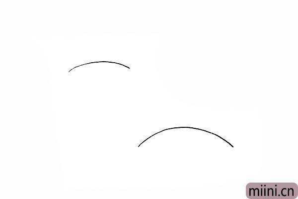 1.首先我们画两条向下弯曲的弧线作为地平线。