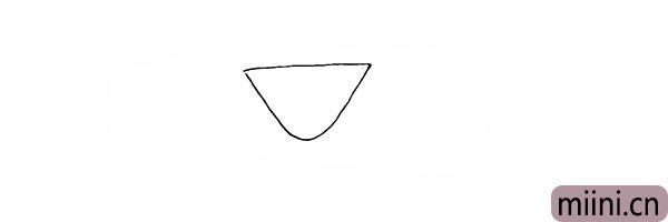 1.首先我们画出一个倒三角形是杯子杯体。