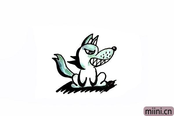 12.最后给大灰狼涂上漂亮的颜色吧。
