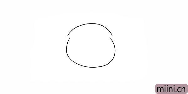 2.在缺口上面画一条弧线是她的头部。