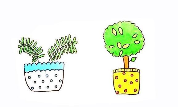盆栽简笔画步骤图解