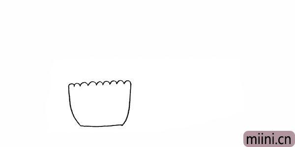 2.画出花盆的身体.呈梯形上宽下窄。