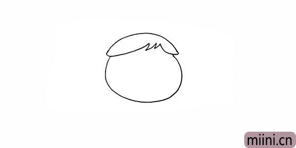 3.接着用不规则的线条画出她的头发。