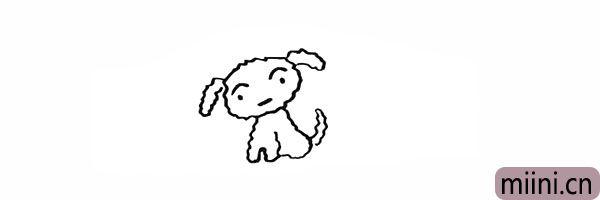 7.我们画出小白向上翘着的尾巴。