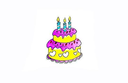 双层生日蛋糕简笔画教程