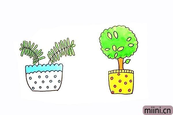 10.最后我们给盆栽涂上漂亮的颜色吧。