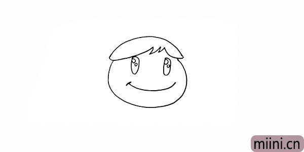 6.画出微笑的嘴巴.仔细观察细节。